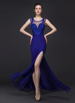 Ericdress Glittering Jewel Neck Side-Split Beading Lace Evening Dress