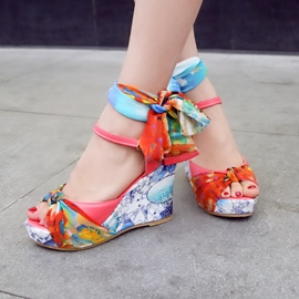 Lace Floral Print Crossed Strap Peep-toe Wedge Sandals