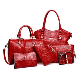 Ericdress Trendy Croco Solid Color Handbags (6 Bags)