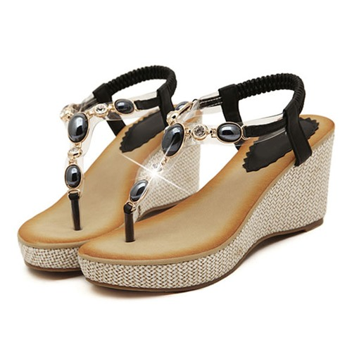 Ericdress Bohemian Handmads Beads Wedge Sandals