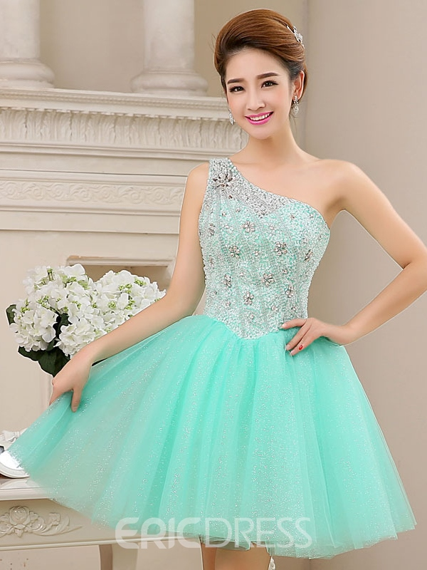 Ericdress One-Shoulder Beaded Sequins Short Homecoming Dress