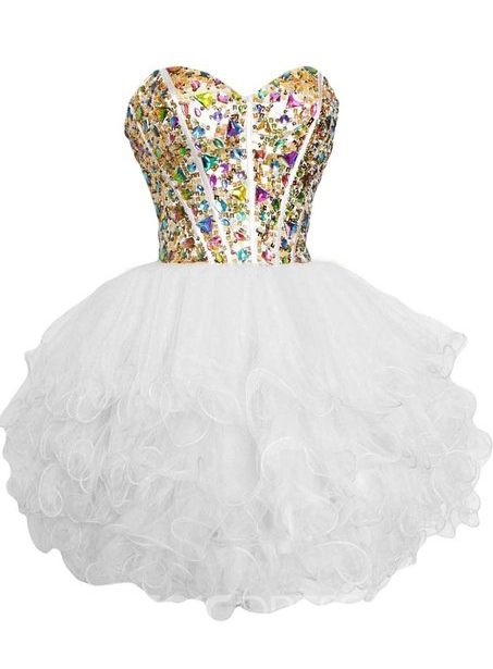 Ericdress Sweetheart Ball Gown Crystal Beadings Mini Homecoming Dress