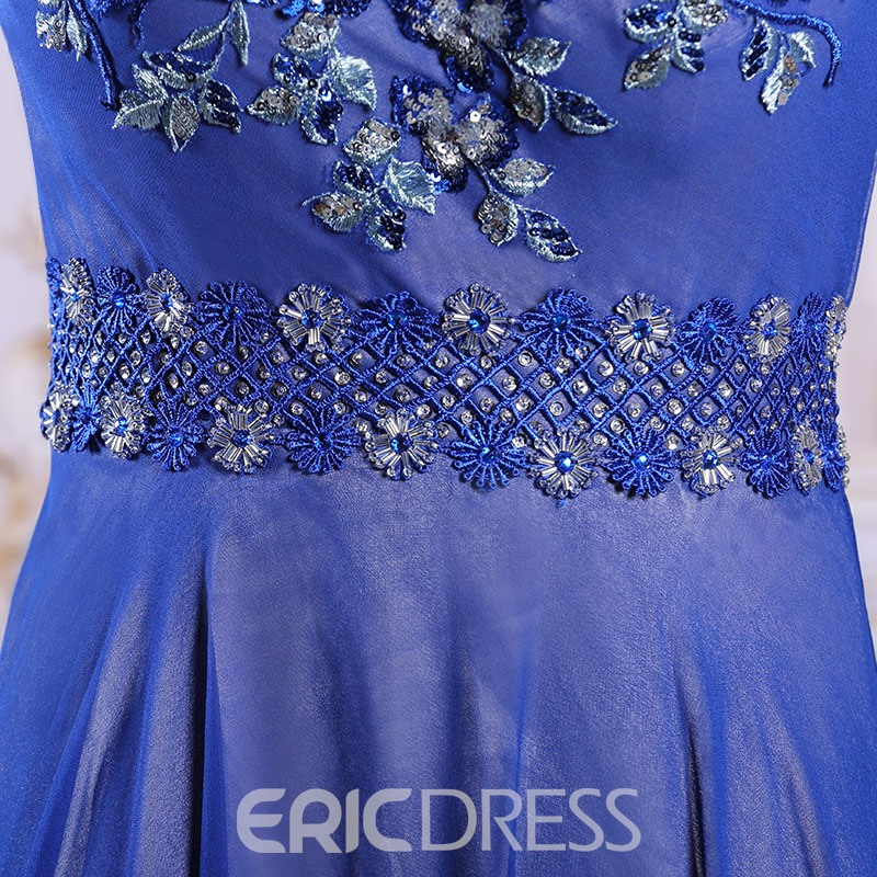 Ericdress Splendid A-Line Sequins Appliques Floor-Length Evening Dress