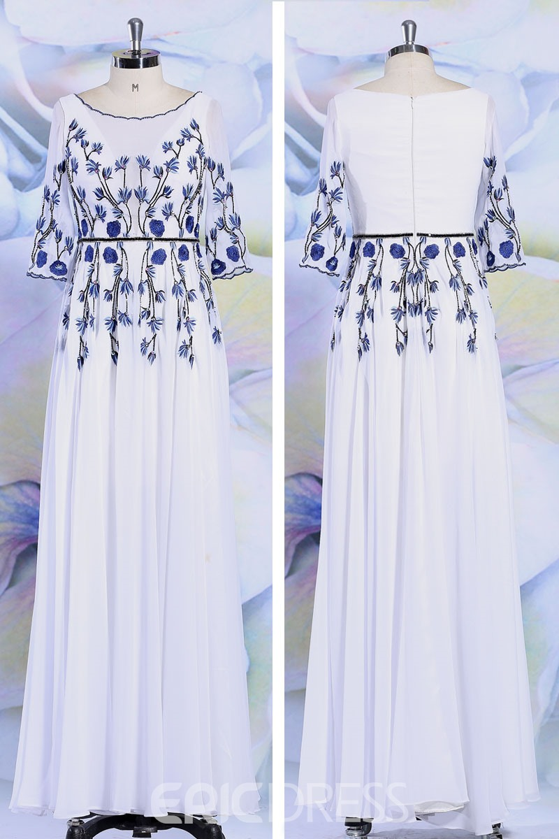 Ericdress Glimmering Half-Sleeve Appliques Long White Evening Dress