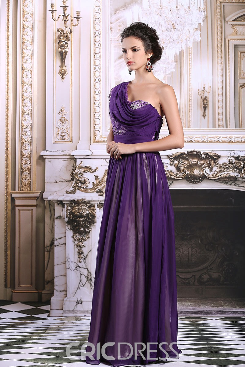 Ericdress Captivating One-Shoulder A-Line Lace Beaded Purple Evening Dress