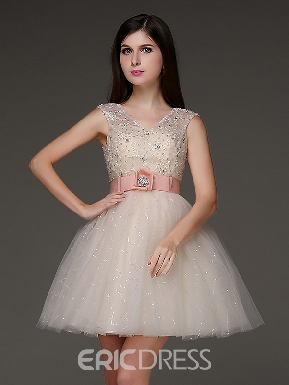 Ericdress V-Neck A-line Crystal Homecoming Dress