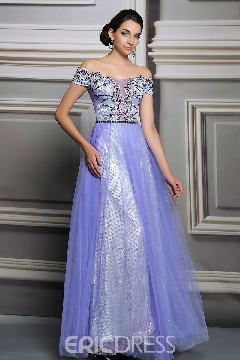 Ericdress Mysterious Off-The-Shoulder Beaded Appliques Long Evening Dress