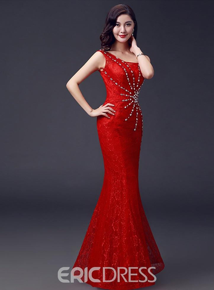 Ericdress Temperament One-Shoulder Beaded Sheath Long Evening Dress