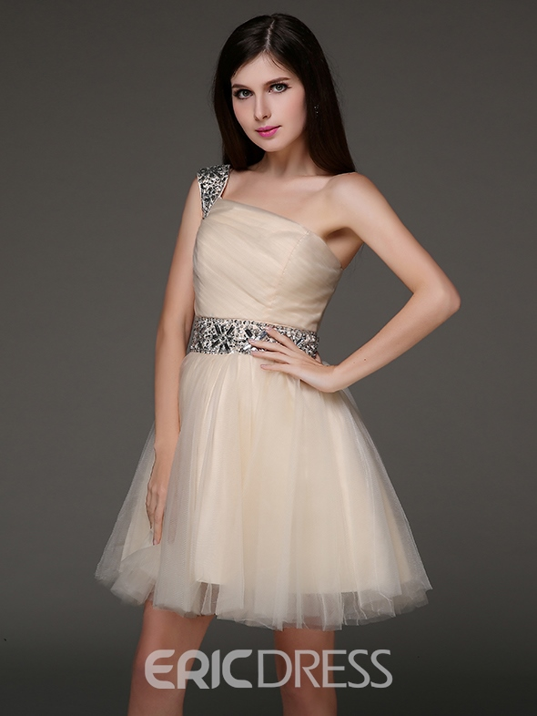 Ericdress One-Shoulder A-Line Crystal Short Homecoming Dress
