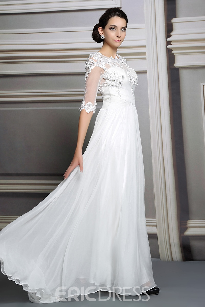 Ericdress Noble Half Sleeves Appliques A-Line White Evening Dress