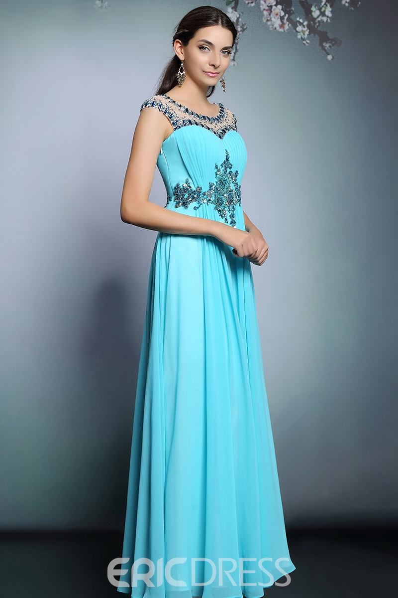 Ericdress Fantastic Jewel Neck A-Line Beaded Long Evening Dress