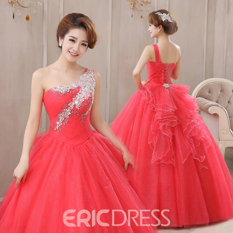 Ericdress One-Shoulder Beaded Sequins Long Quinceanera Dress