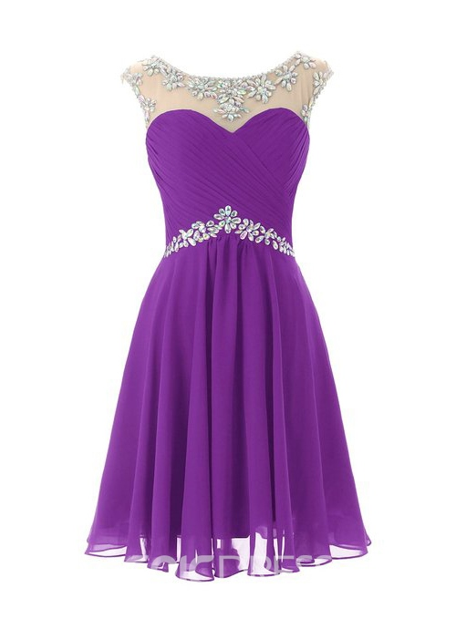 Ericdress A-Line Cap Sleeves Scoop Neck Short Homecoming Dress With Beadings