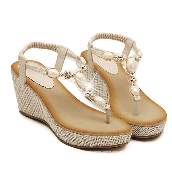 Bohemian Handmads Beads Wedge Sandals