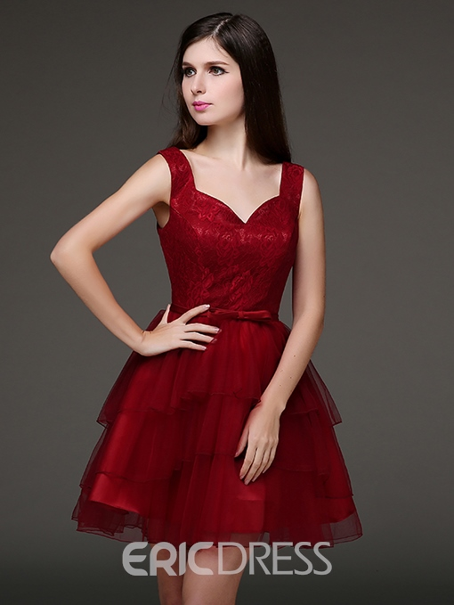 Ericdress A-Line Straps Bowknot Homecoming Dress