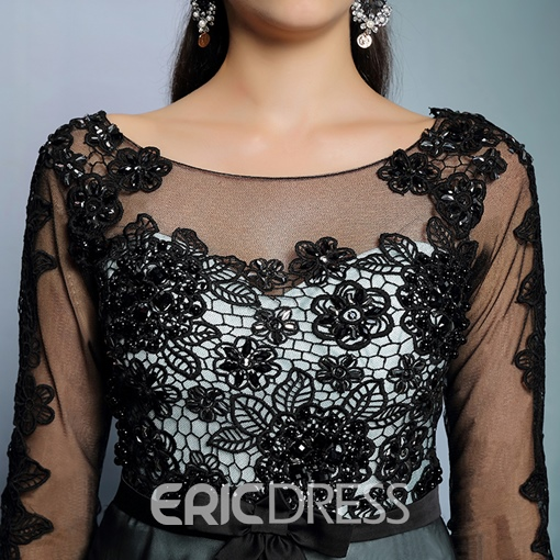 Ericdress Spectacular Long Sleeves A-Line Appliques Black Long Evening Dress