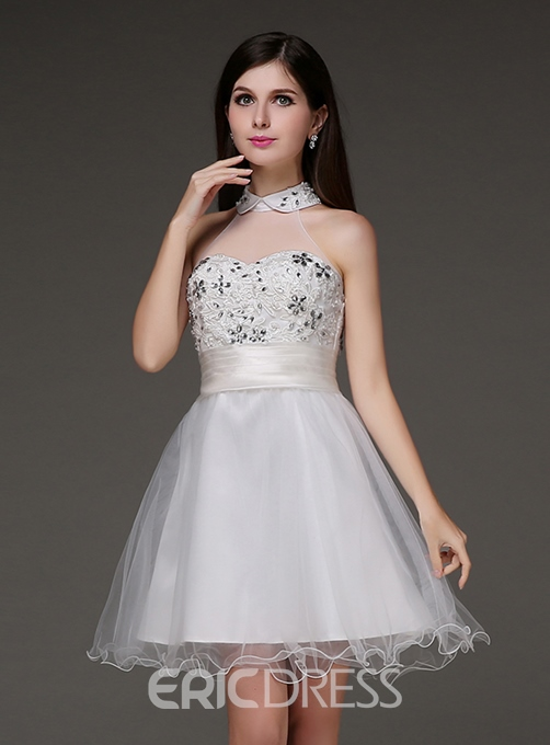 Ericdress A-Line High Neck Beadings Mini Homecoming Dress