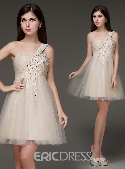 Ericdress A-line V-Neck Crystal Beaded Homecoming Dress