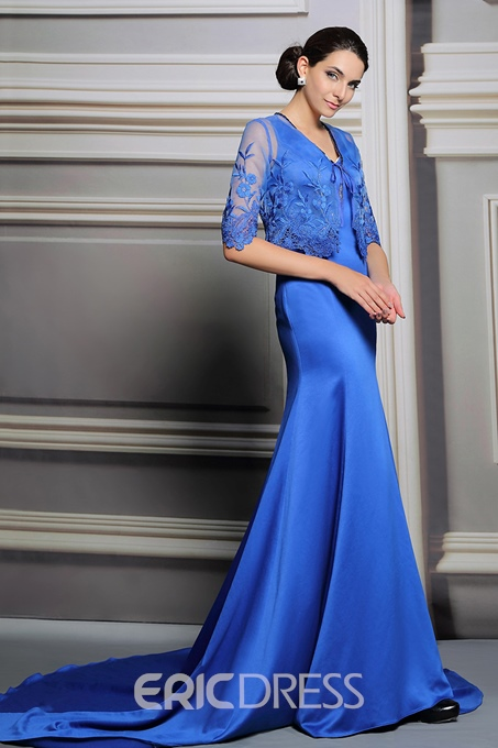 Ericdress Wonderful V-Neck Court Train Mermaid Evening Dress With Jacket