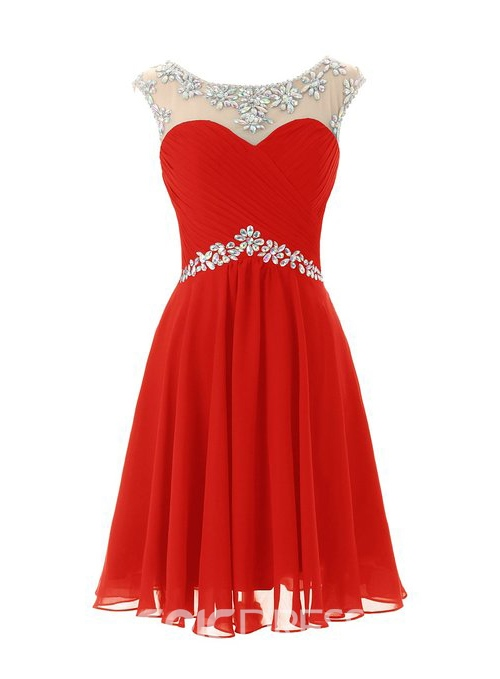 Ericdress A-Line Cap Sleeves Short Homecoming Dress With Beadings