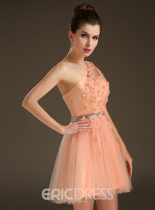 Ericdress A-Line One-Shoulder Flowers Mini Homecoming Dress
