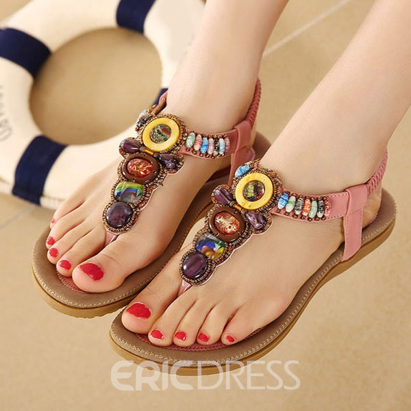 Ethnic Beads Comfortable Beach Flat Sandals