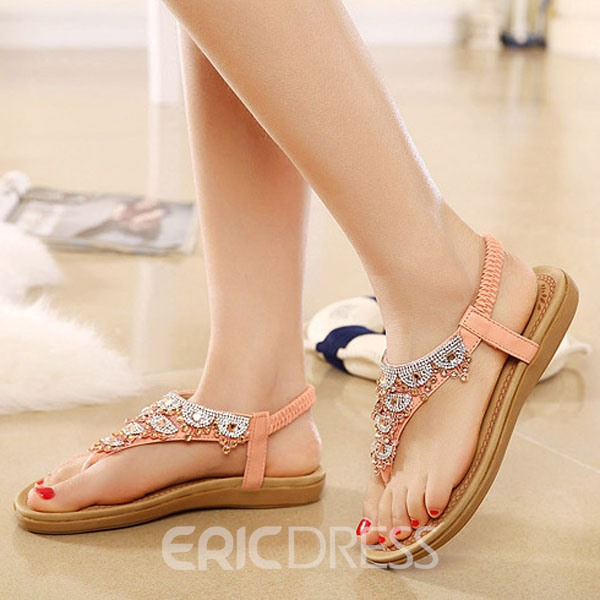 Pretty Korean Antiskid Clip-toe Flat Sandals