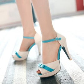 Patchwork Candy Color Peep-toe Stiletto Sandals