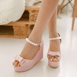 Bright Bowknot&pearl Decoration Wedge Sandals