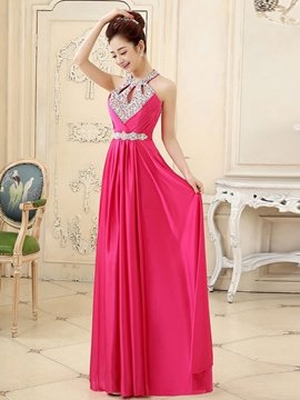 Ericdress Halter Beaded Ruches Floor-Length Prom Dress