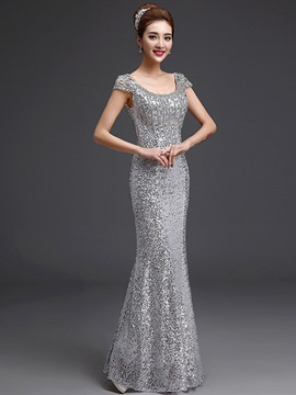 Ericdress Sheath Sequins Mermaid Evening Dress With Beadings