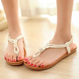 Sweet Flat Sandals with Rhinestone