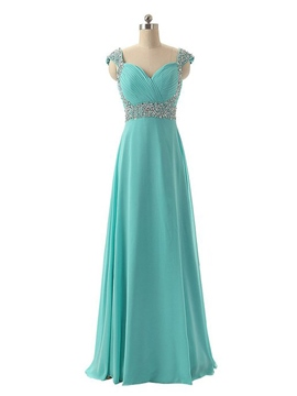 Ericdress Cap Sleeves Straps Beaded Long Chiffon Prom Dress