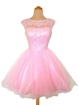 Ericdress Jewel Neck Appliques A-Line Tulle Homecoming/Sweet 16 Dress