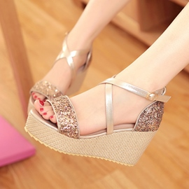 Sequins Decoration Peep-toe Wedge Sandals