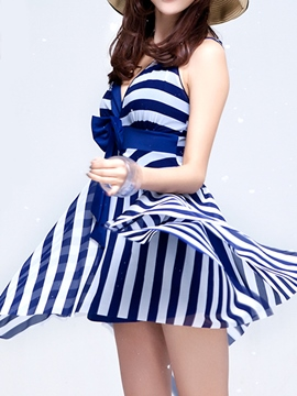 Ericdress Stripe Bowknot Asymmetric Skirt Beach Dress (Plus Size Available)