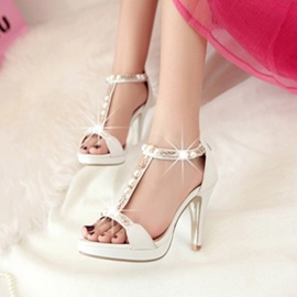 T-Strap Beads&Rhinestone Decoration Stiletto Sandals