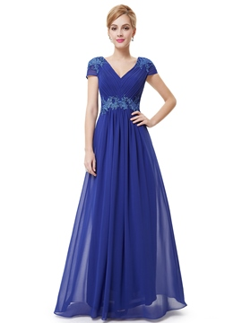 Ericdress Fantastic Short Sleeves A-Line V-Neck Appliques Long Evening Dress