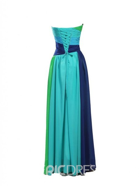 Ericdress Color Block Floor-Length Chiffon Evening Dress