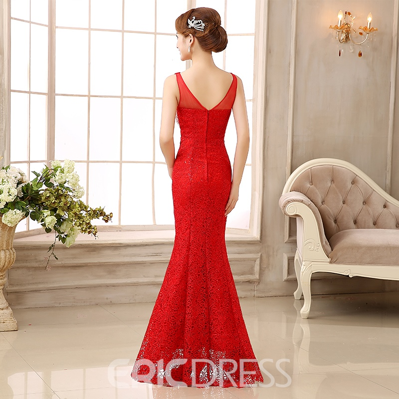 Ericdress V-Neck Lace Beading Floor-Length Long Trumpet Evening Dress