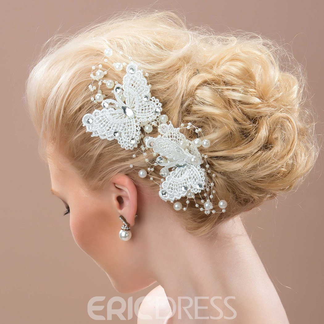 Ericdress Charming Lace Butterfly Shaped Hair Flowers
