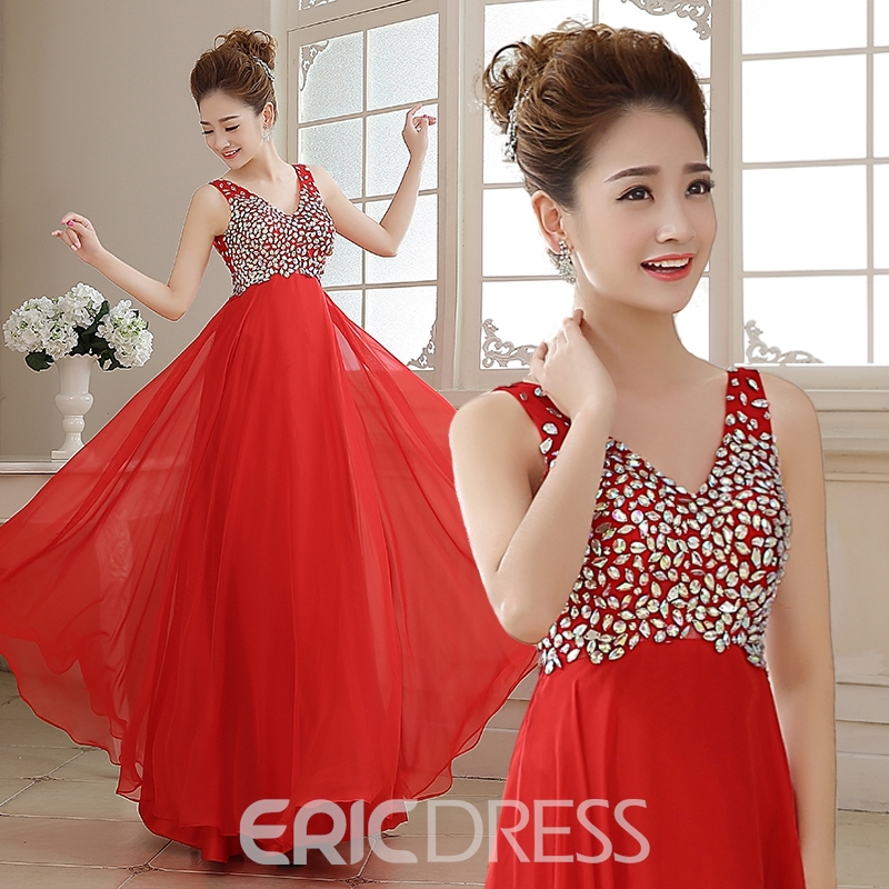 Ericdress Classic Beaded V-Neck Open Back Floor-Length Prom Dress