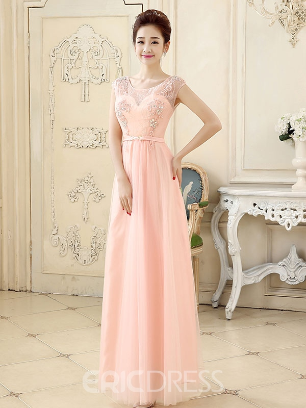 Ericdress Appliques A-Line Long Prom Dress With Beadings