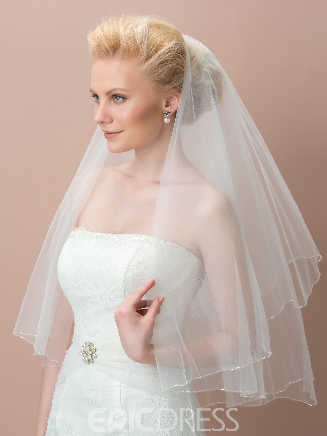 Ericdress Concise Beading Tulle Wedding Veil