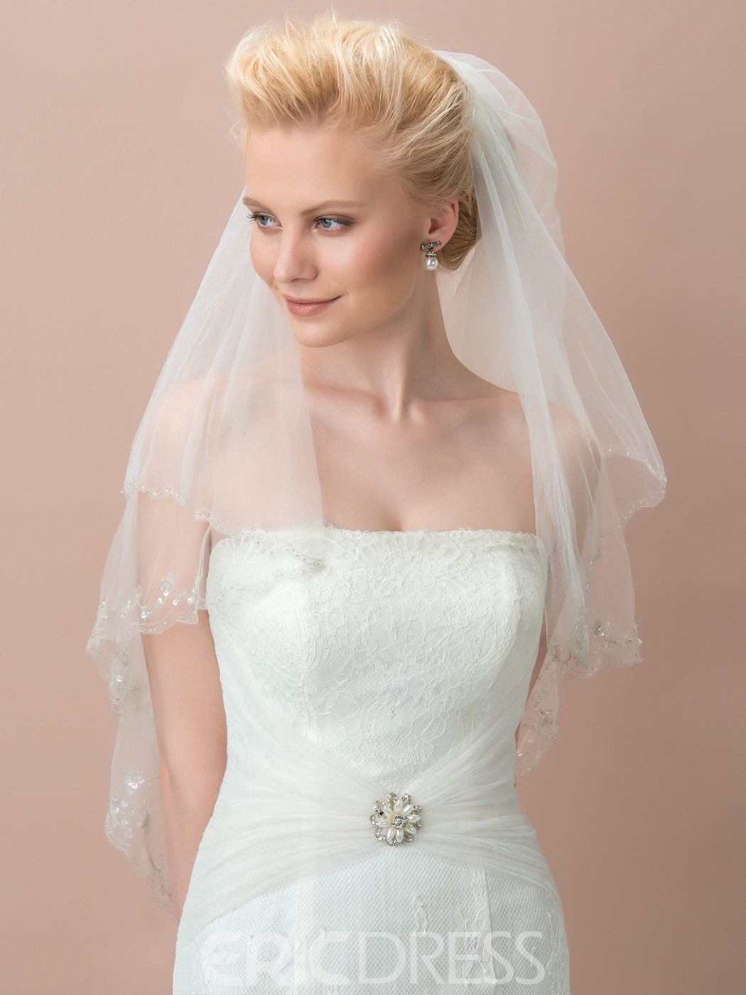 Ericdress Comely Tulle Beading Wedding Veil With Comb