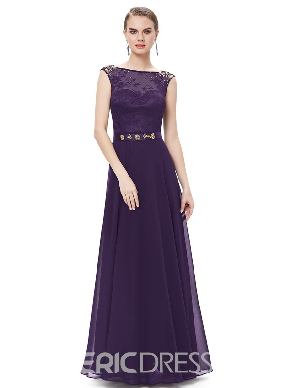 Ericdress Courtlike Bateau A-Line Beaded Floor-Length Evening Dress
