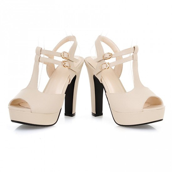 Ericdress T Strap Peep Toe Stiletto Sandals