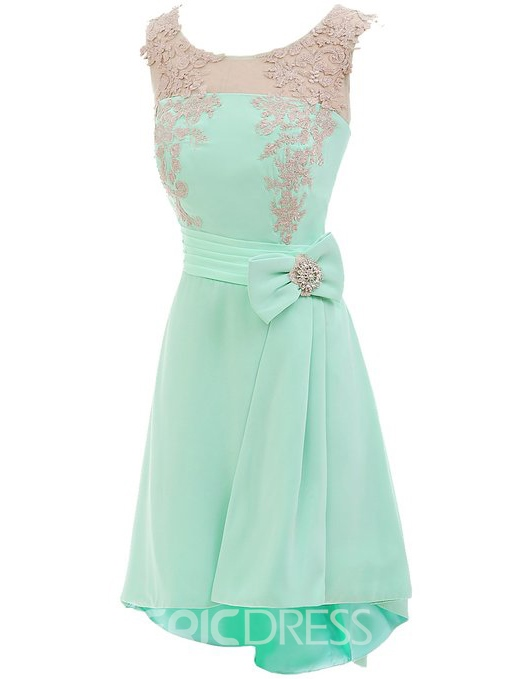 Ericdress Scoop Neck A-line Bowknot Appliques Homecoming Dress
