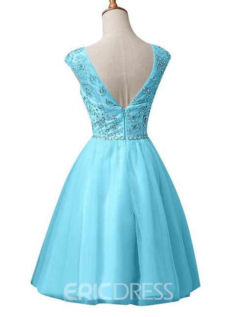 Ericdress Beaded Cap Sleeves A-Line Homecoming Dress