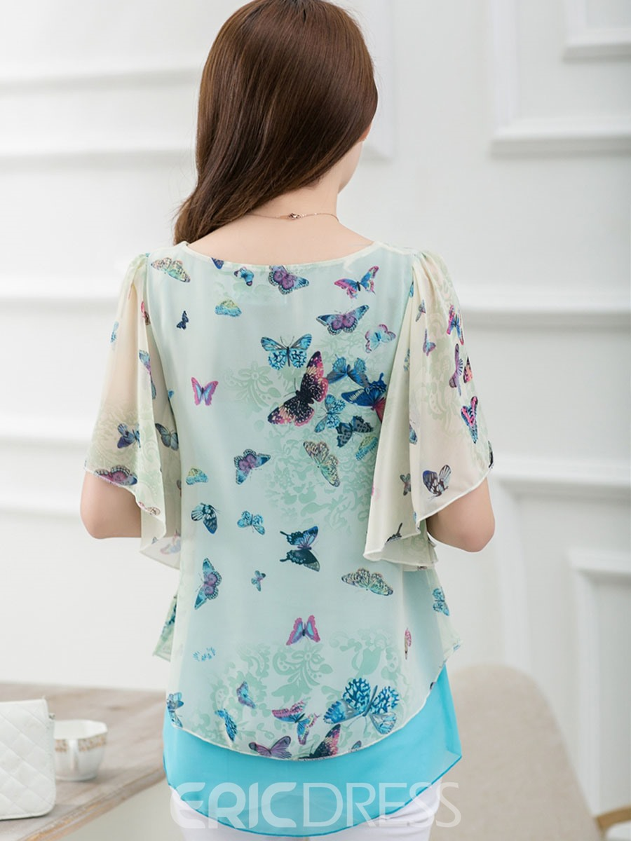 Ericdress Butterfly Printed Chiffon Blouse